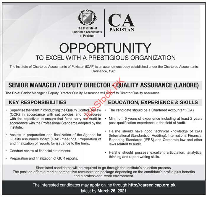 Senior Manager Administration Jobs In Lahore 2021