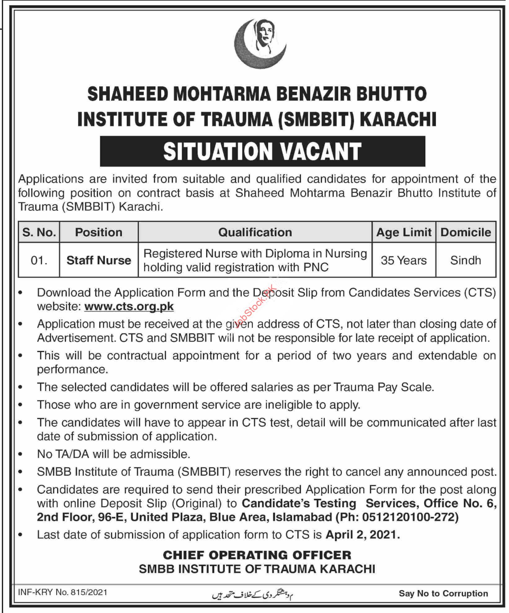 Staff Nurse Jobs In Shaheed Mohtarma Benazir Bhutto Institute Of Trauma Smbbit Karachi 2021
