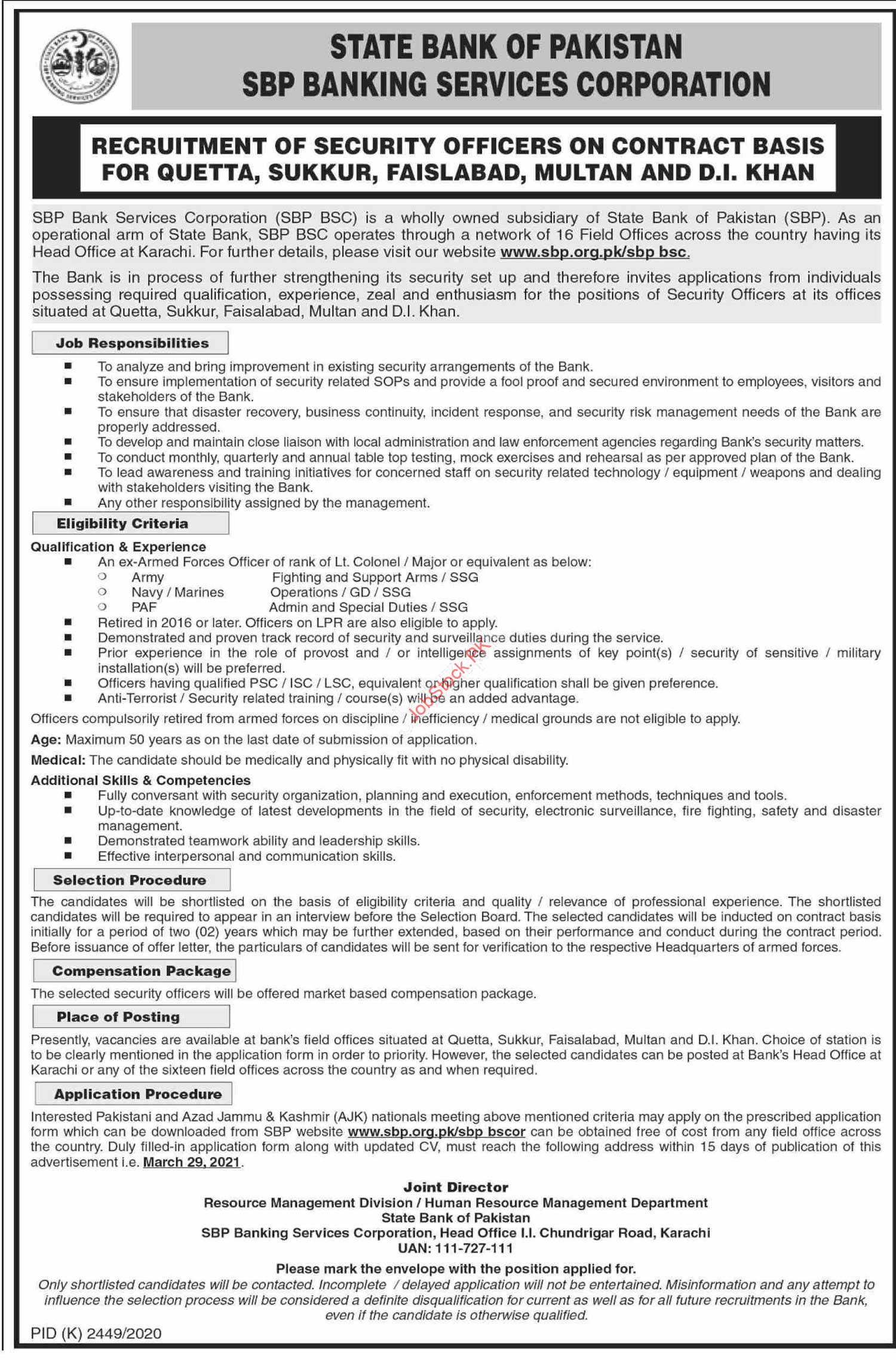 State Bank Of Pakistan Jobs 2021 Advertisement Security Officers