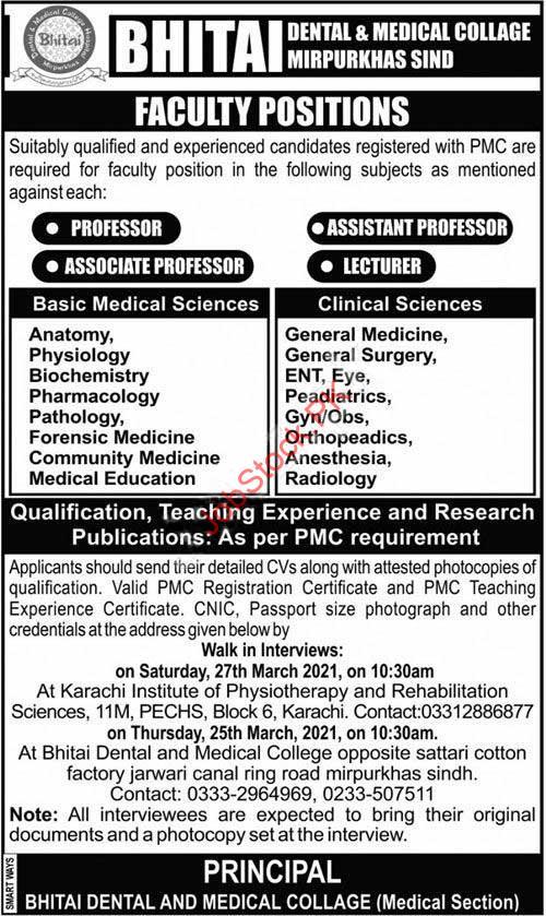 Teaching Jobs In Mirpurkhas Sindh Professor, Lecturer Jobs