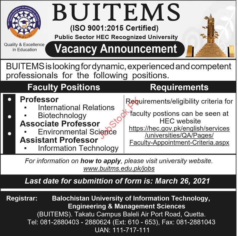Teaching Jobs In Quetta Professor, Assistant Professor, Associate Professor
