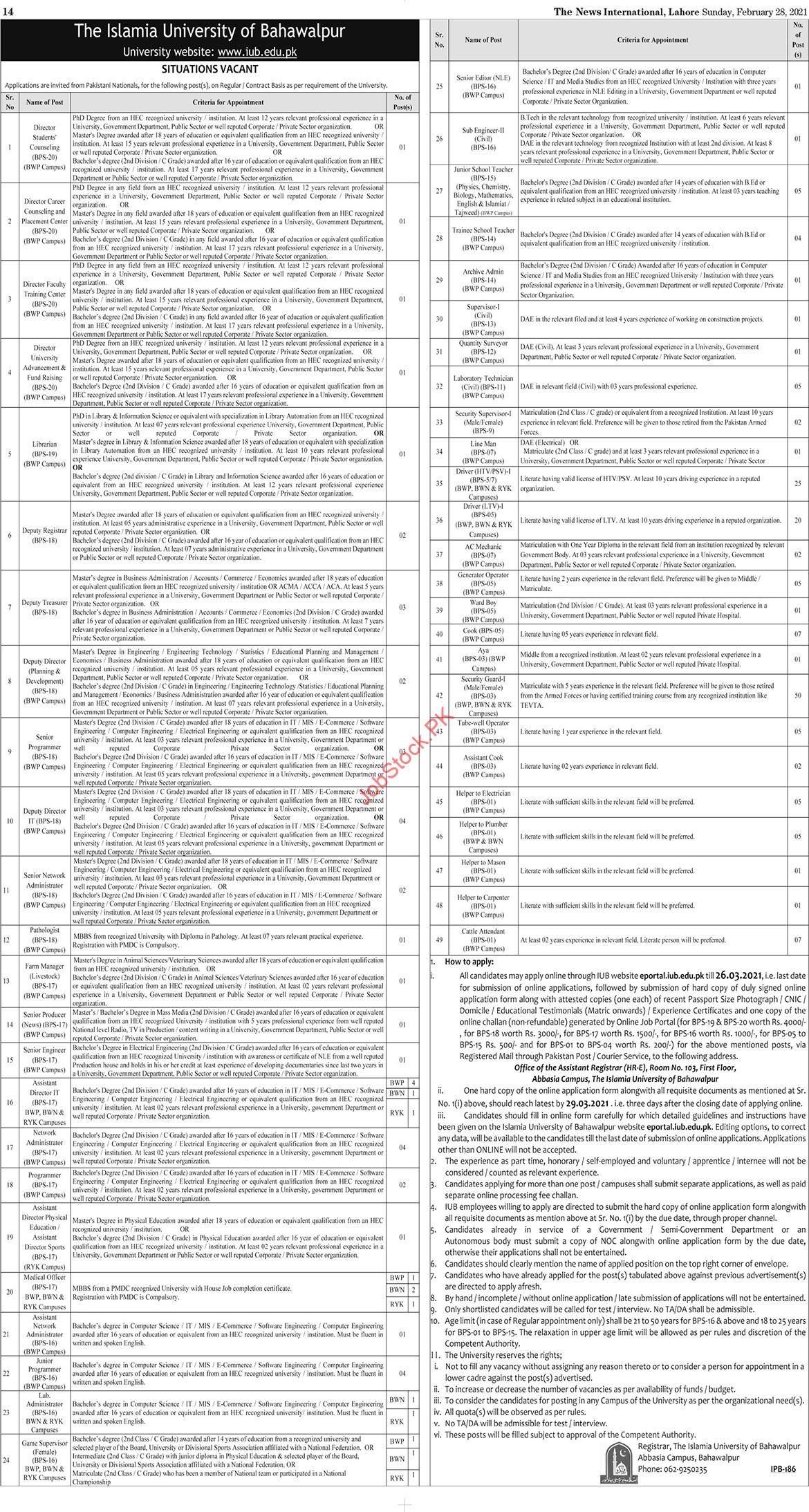 The Islamia University Of Bahawalpur Jobs 2021