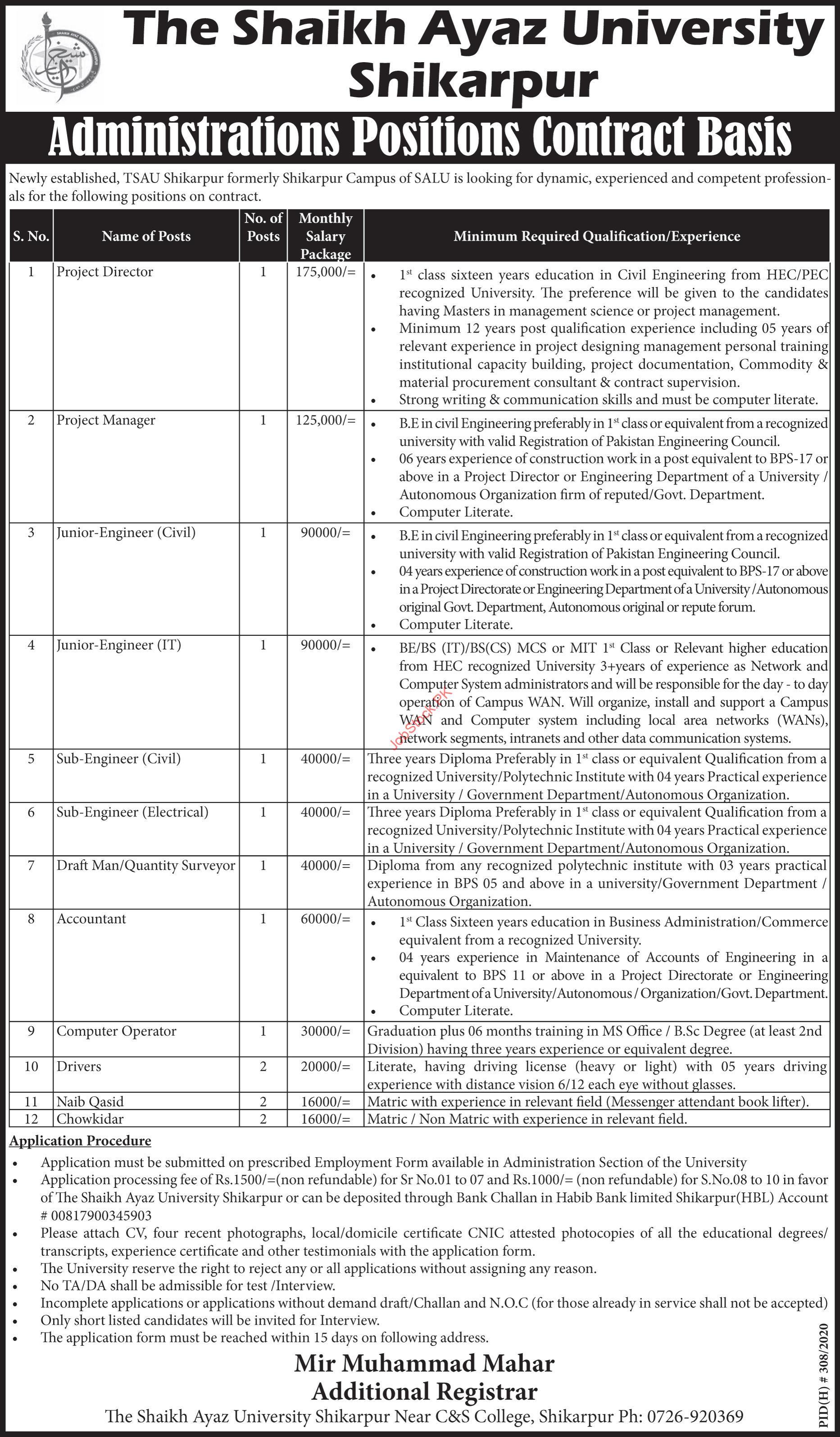 The Sheikh Ayaz University Shikarpur Jobs 2021
