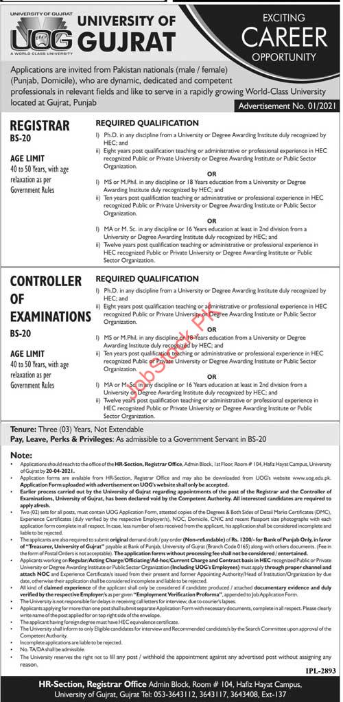 University Of Gujrat Jobs 2021 Advertisement