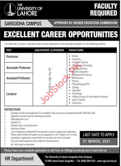 University Of Lahore Sargodha Campus Jobs Professors Lecturers