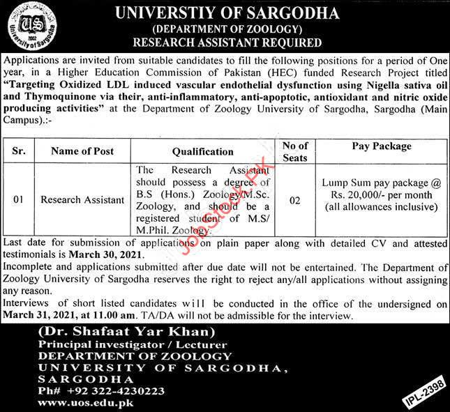 University Of Sargodha Jobs 2021 Advertisement Research Assistant