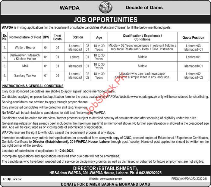 Wapda Jobs 2021 April Latest