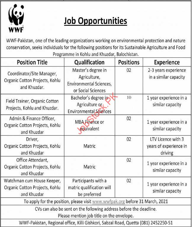 Wwf Jobs In Pakistan Ngo Work Jobs