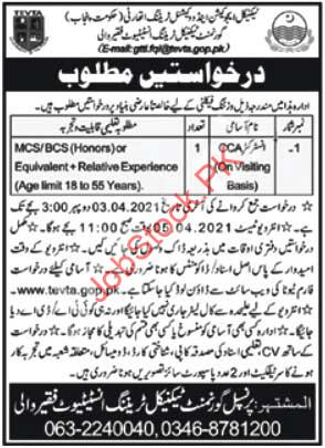 Teaching Jobs In Bahawalnagar Tevta Jobs