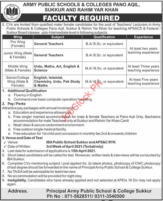 Army Public Schools & Colleges Pano Aqil Jobs 2021