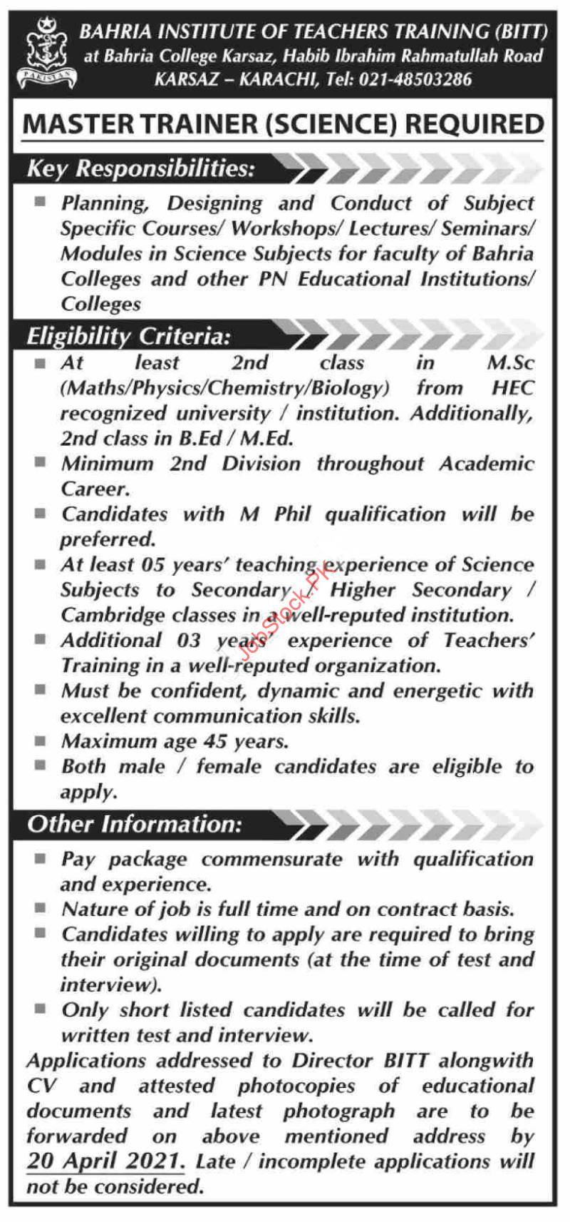 Bahria College Karsaz Jobs 2021 Advertisement