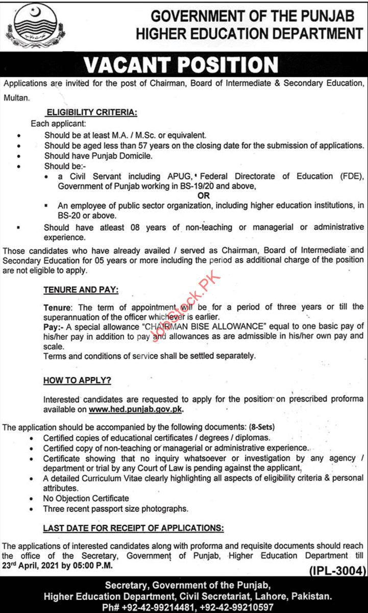 Chariman Jobs In Bise Multan 2021 April Latest