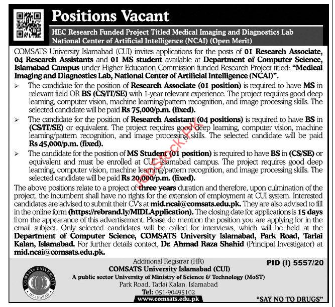 Comsats University Islamabad Cui Jobs 2021