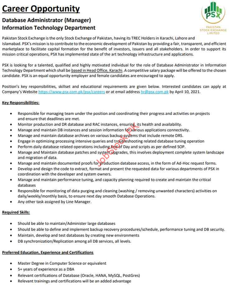 Database Administrator Jobs In Karachi 2021