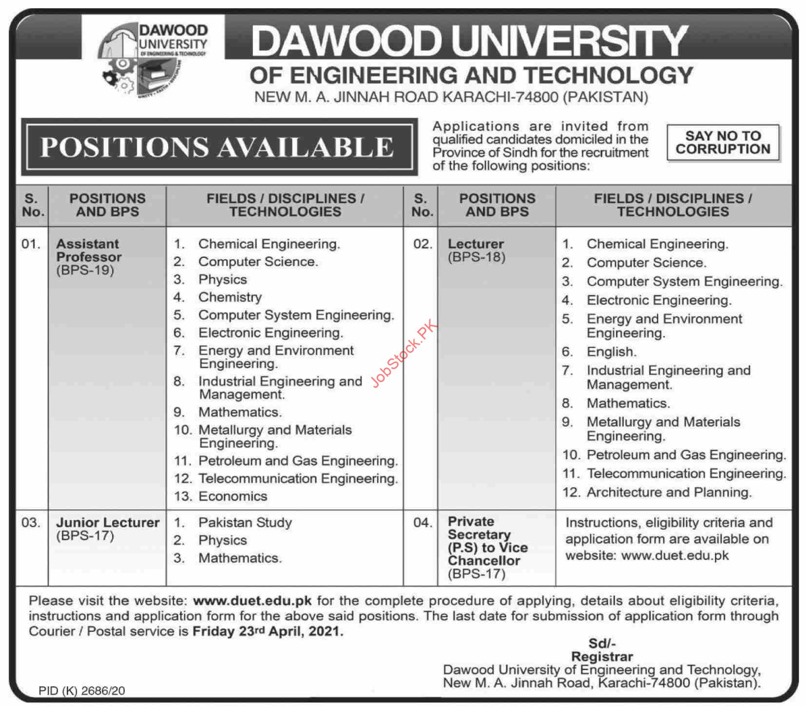 Dawood University Of Engineering & Technology Karachi Jobs 2021