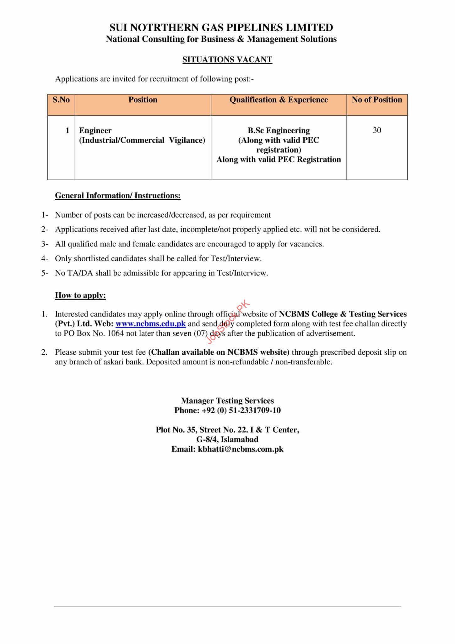Engineer Jobs In Sui Northern Gas Pipelines Ltd Sngpl 2021