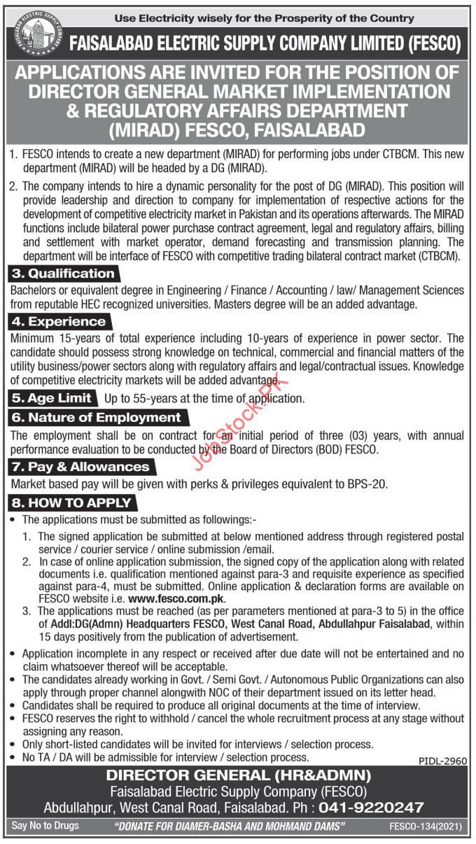 Fesco Jobs 2021 Advertisement Manager Jobs In Faisalabad