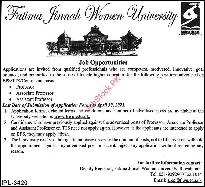 Fatima Jinnah Women University Rawalpindi Jobs 2021