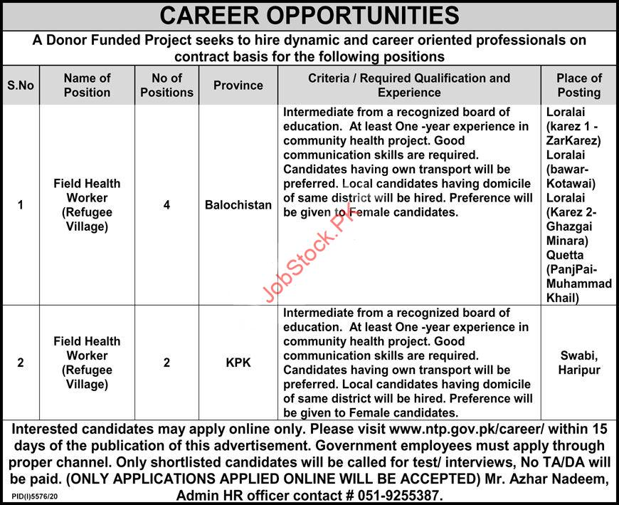 Field Health Worker Jobs In National Tb Control Program 2021 April Latest