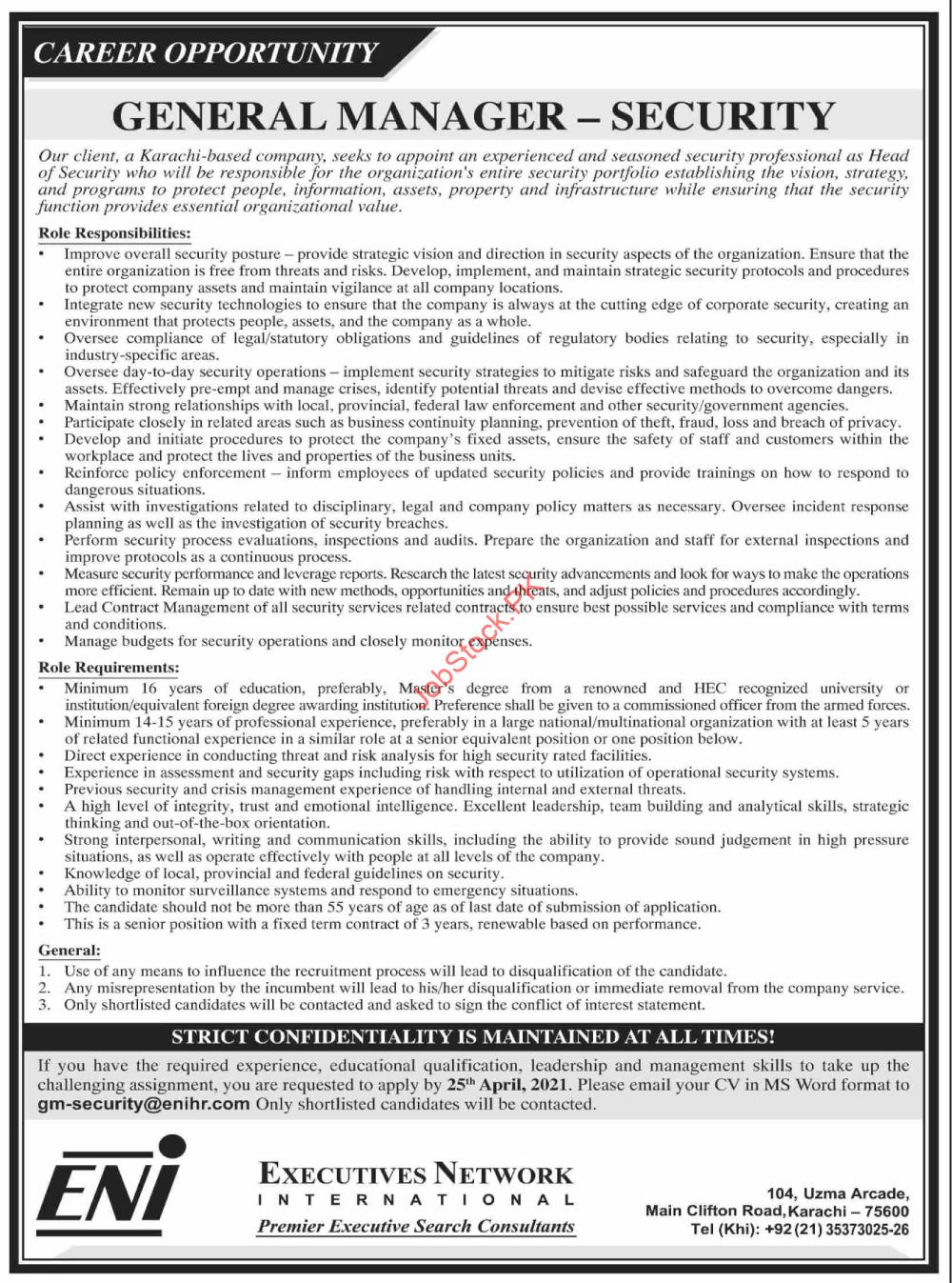 General Manager Jobs In Karachi Latest April 2021 Advertisement