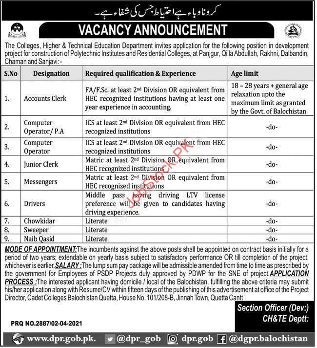 Government Jobs In Education Department Balochistan 2021