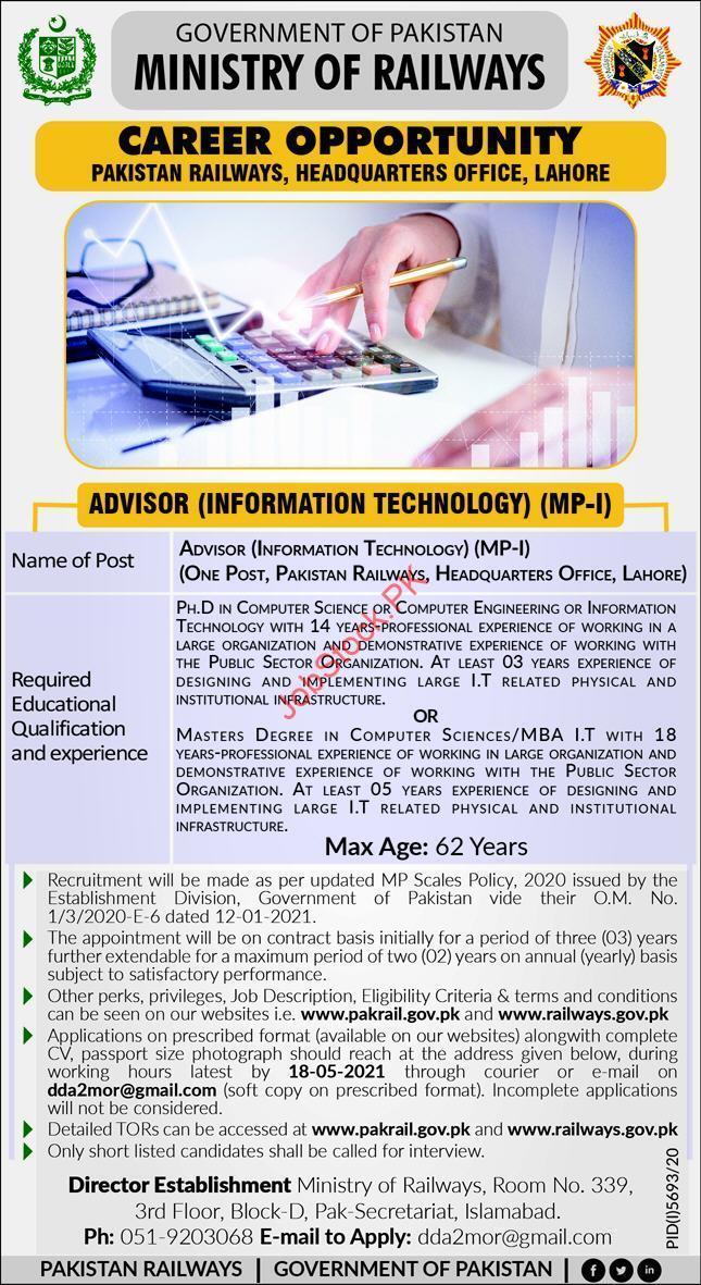 Information Technology Advisor Jobs In Lahore Pak Railway Jobs 2021 Lahore