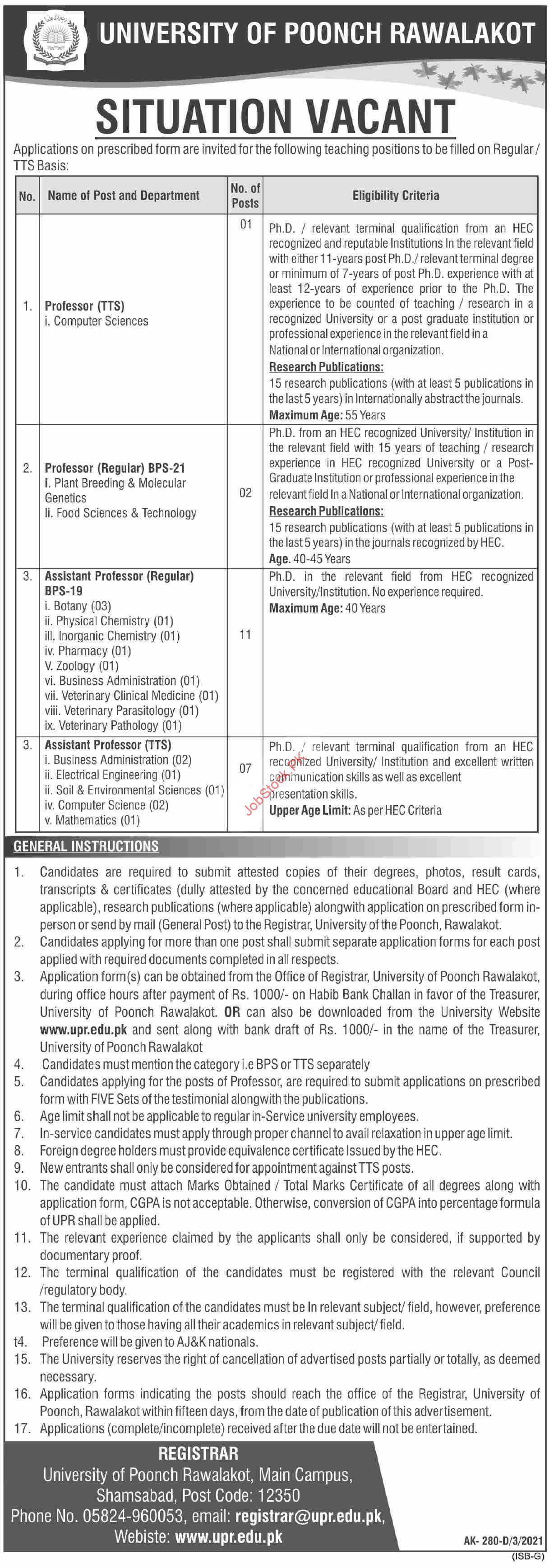 Jobs In University Of Poonch Rawalakot Upr 2021