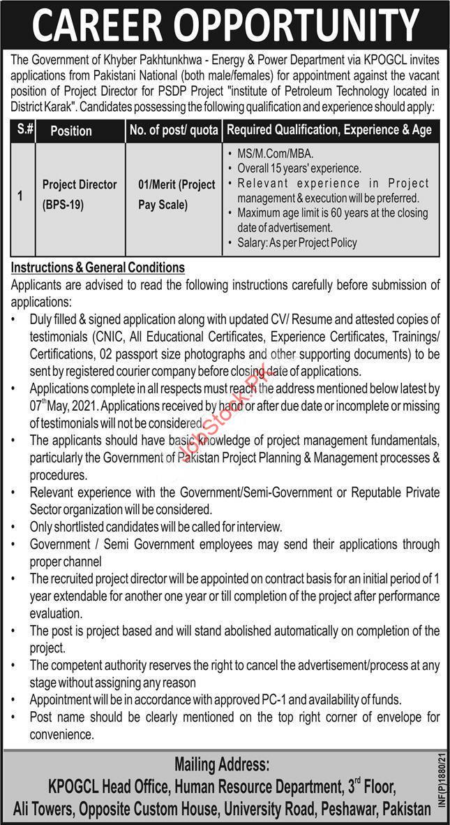 Kpogcl Jobs 2021 Advertisement Project Director Jobs In Pakistan