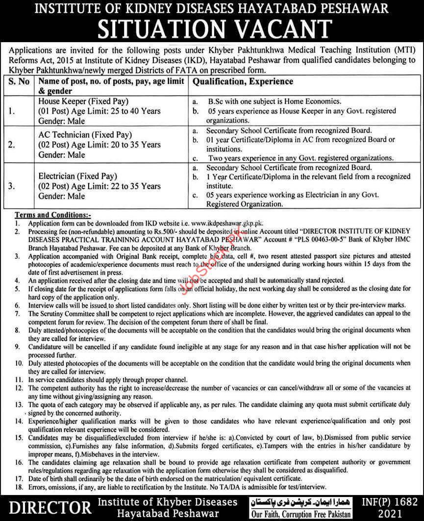 Kidney Hospital Peshawar Jobs Ikd Peshawar Jobs Application Form 2021