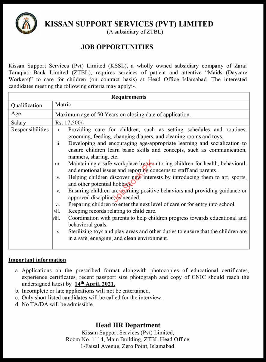 Maids Daycare Workers Jobs In Ztbl Bank