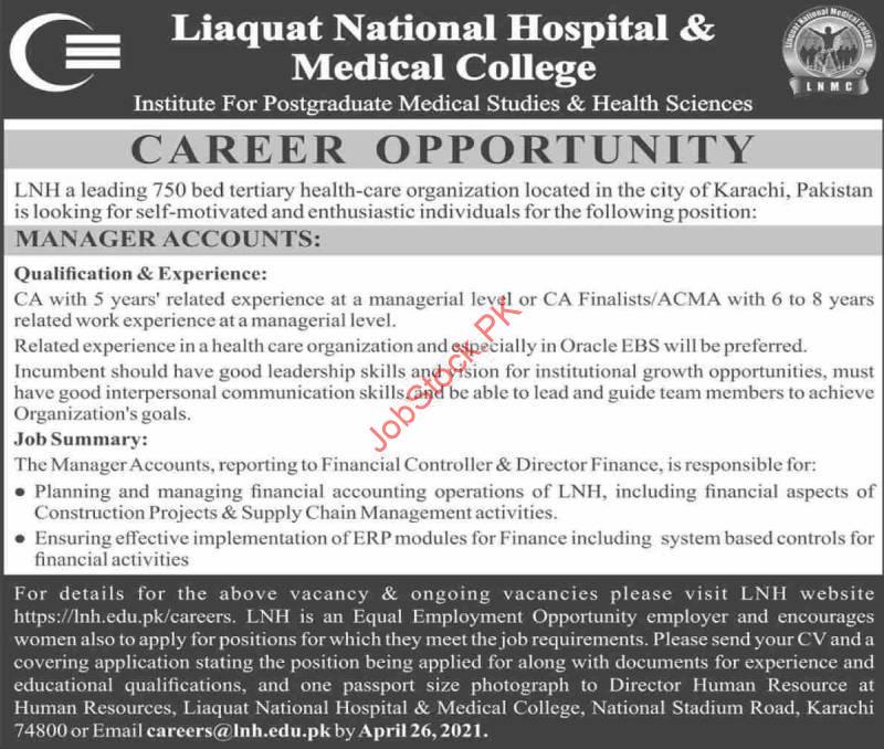 Manager Accounts Jobs In Karachi April 2021 Advertisement Apply Online