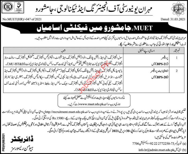 Mehran University Jamshoro Jobs 2021