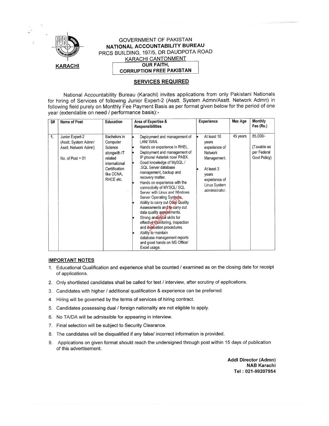 Nab Karachi Jobs 2021 Advertisement