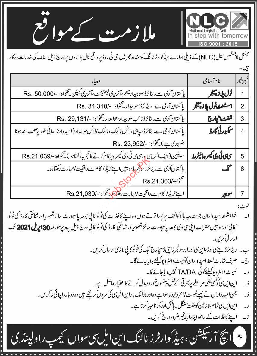National Logistics Cell Nlc Jobs 2021