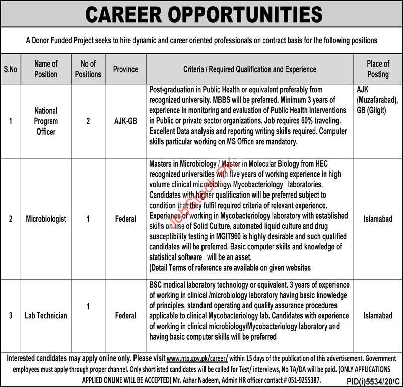 National Tb Control Program Ntp Islamabad Jobs 2021