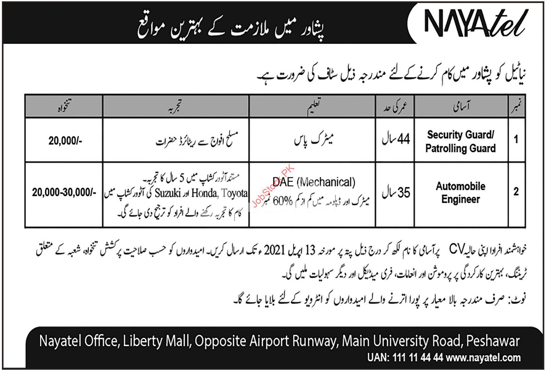 Nayatel Private Ltd Peshawar Jobs 2021