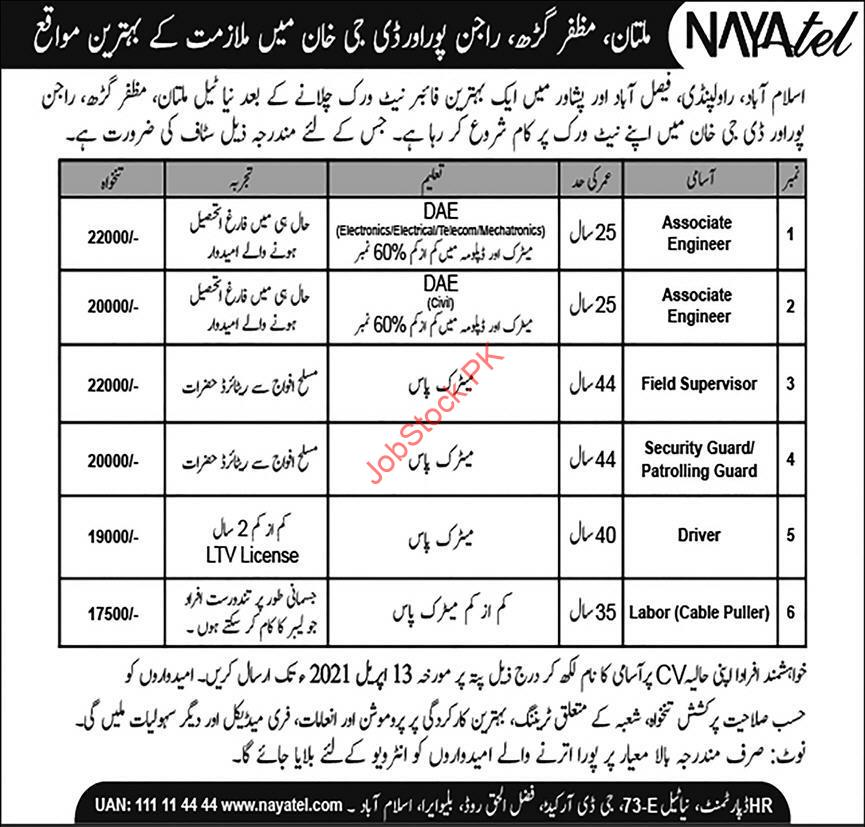 Nayatel Pvt Ltd South Punjab Jobs 2021