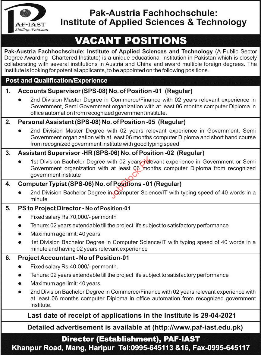 Paf Institute Of Applied Sciences & Technology Jobs 2021