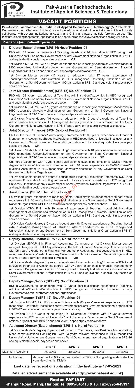 Paf Pak Austria Fachhochschule Institute Of Applied Sciences & Technology Haripur Jobs 2021 April Latest