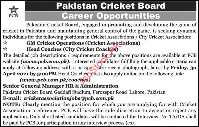 Pakistan Cricket Board Jobs 2021 Lahore Pcb Lahore Jobs