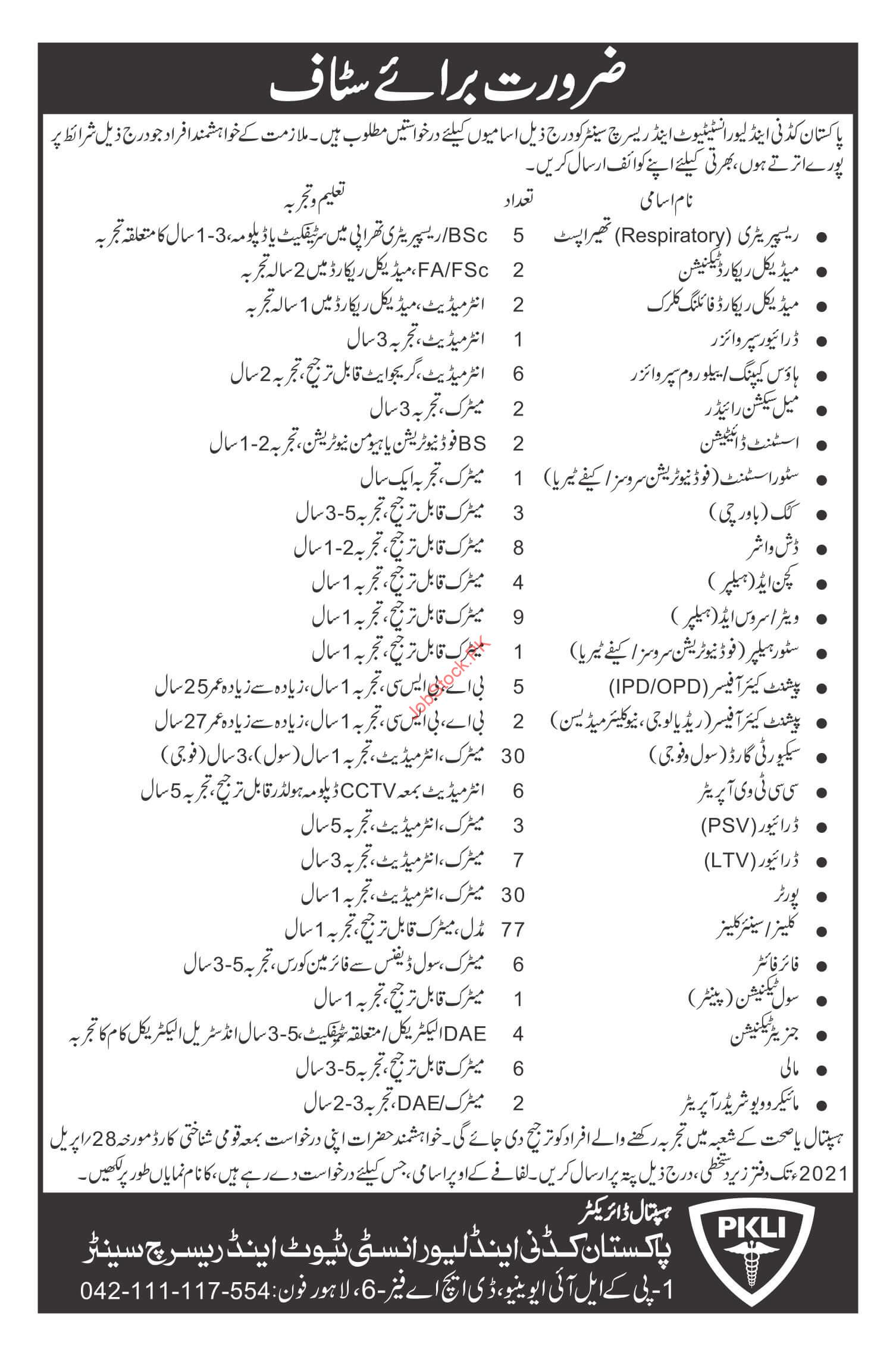 Pakistan Kidney And Liver Institute Lahore Jobs 2021