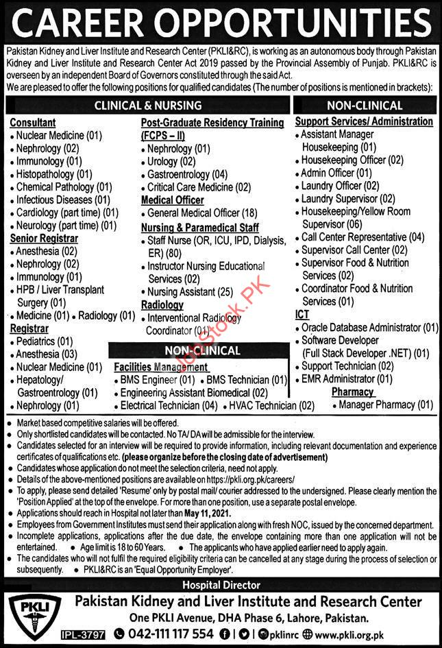 Pakistan Kidney And Liver Institute & Research Center Jobs 2021 Latest