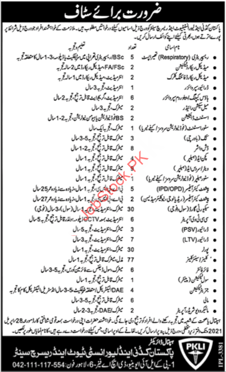Pakistan Kidney Hospital & Liver Institute Lahore Jobs 2021