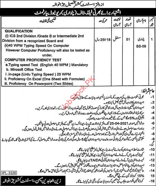 Patwari Jobs In Jaranwala Revenue Department 2021 Application Form Download