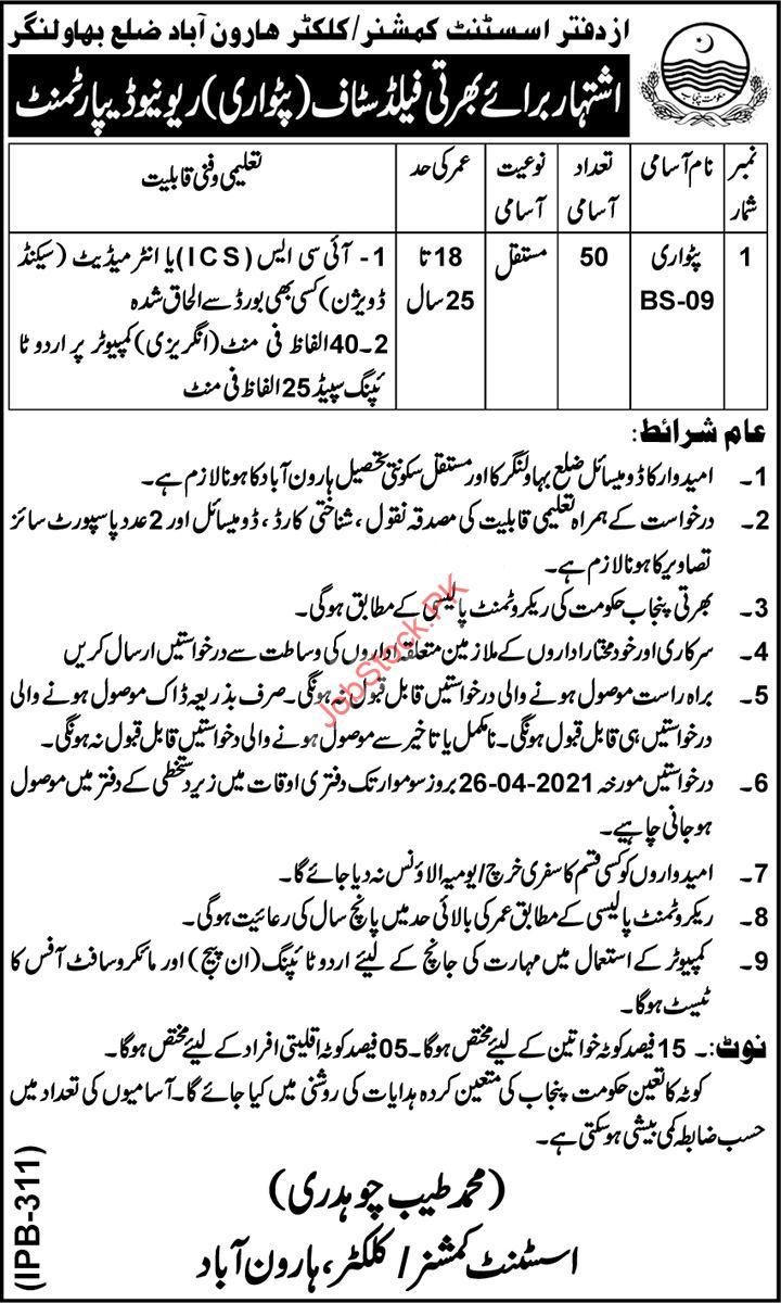 Patwari Jobs In Revenue Department Bahawalnagar 2021