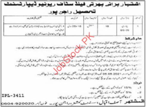 Patwari Jobs In Revenue Department Rajanpur 2021