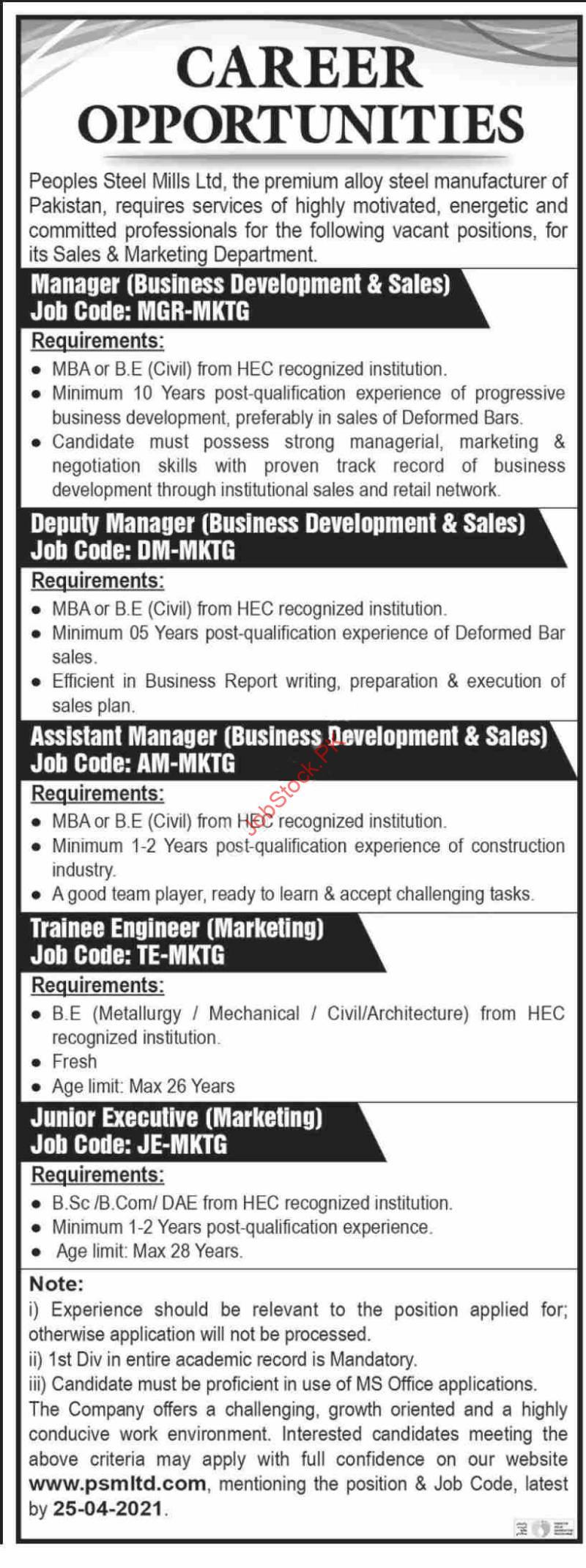Peoples Steel Mills Jobs 2021 Karachi Private Company Jobs 2021