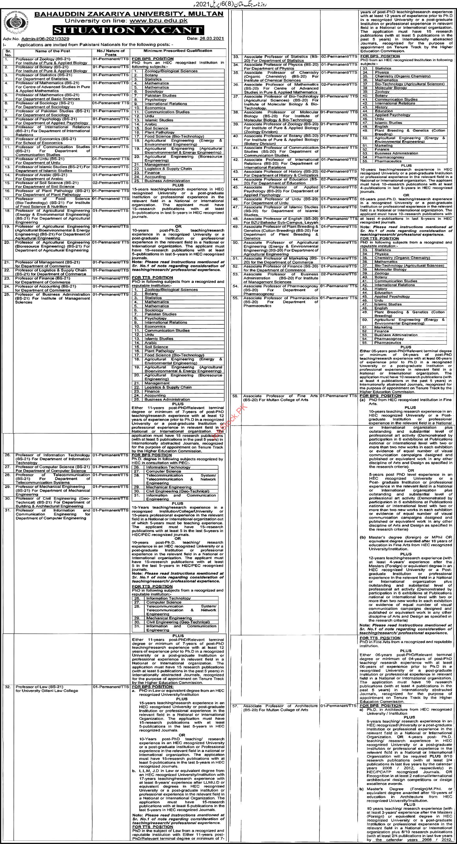 Professor Lecturer Jobs In Bzu Multan 2021 Bzu Teaching Faculty Jobs In Multan