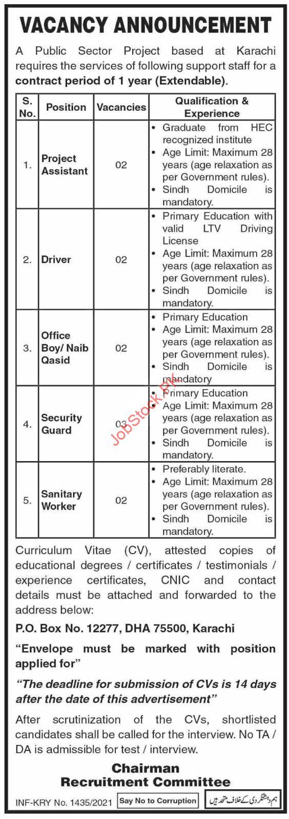 Public Sector Organization Karachi Jobs 2021 P.o Box.no 12277 Dha 75500