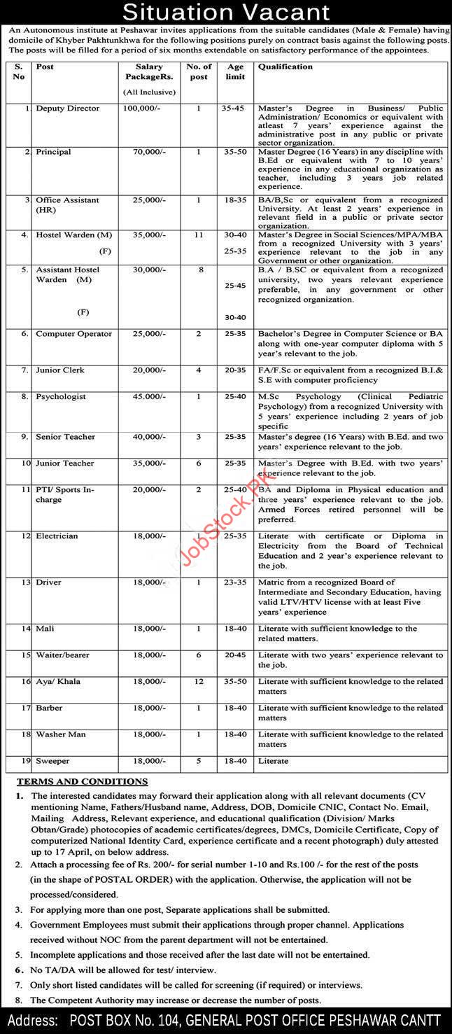 Public Sector Organization Peshawar Jobs 2021